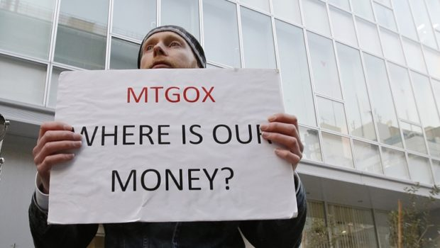 Kolin Burges, a self-styled cryptocurrency trader and former software engineer, was among a small number of protesters outside the Tokyo offices of bitcoin exchange Mt. Gox on Tuesday.
